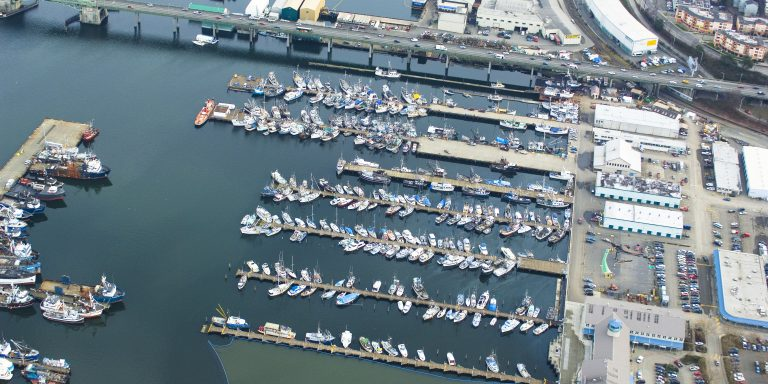 Aerial image of the Ballard Bridge and boat docks along the Lake Washington Ship Canal.