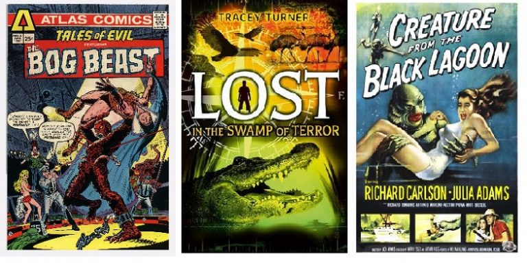 Picture of comic book cover and movie posters.